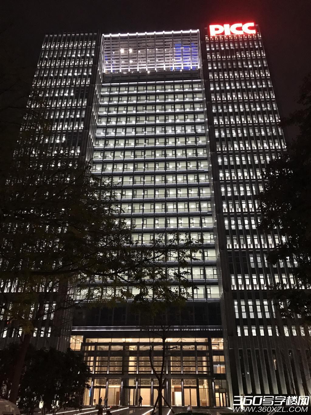陕西人保金融大厦夜景图