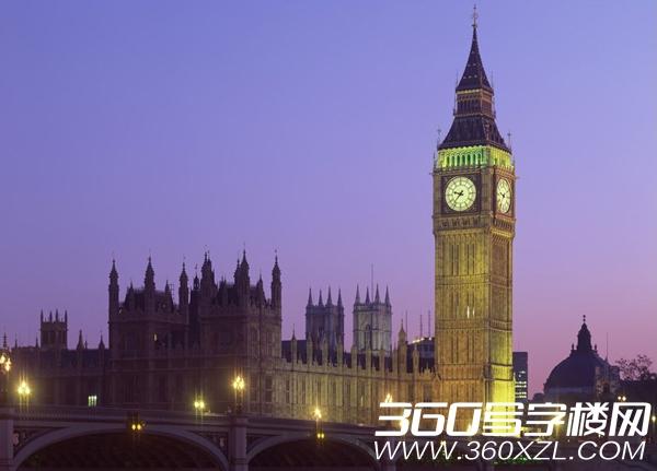 """大本钟(Big Ben),英国国会会议厅附属的钟楼,伦敦著名的古钟(即威斯敏斯特宫报时钟)。建于1859年。安装在西敏寺桥北议会大厦东侧高95米的钟楼上,钟楼四面的圆形钟盘,直径为6.7米,是伦敦的传统地标。2012年6月26日,英国宣布将把伦敦著名地标""""大本钟""""的钟楼改名为""""伊丽莎白塔""""。"""